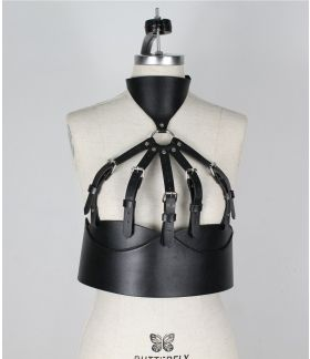 Leather belt harness bust body garters bondage choker